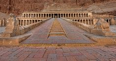 Steps up to the entrance of the mortuary temple of Queen Hatshepsut.