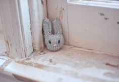 Grey Knitted Rabbit Brooch by SarahMcNeil on Etsy