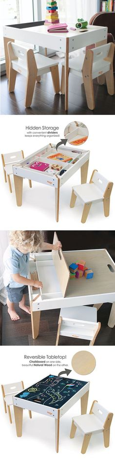 P'kolino Little Modern Children's Table with reversible top and built in storage compartment.  This toddler table has reversible chalk table top (to quickly hide any mess) and two ergonomic child chairs. Playfully stylish design fits bedroom, playroom or family room. P'kolino meets or exceed US, EU, and Canadian safety standards.  ~ Great pin! For Oahu architectural design visit http://ownerbuiltdesign.com