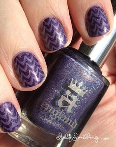 A-England Lady of the Lake + Stamping mani. I think this would look great with a matte and glossy nail color.
