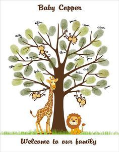 Safari Baby Shower Fingerprint Tree Guest Book by CustombyBernolli