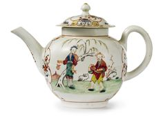 A LIVERPOOL PORCELAIN TEAPOT AND COVER CIRCA 1770