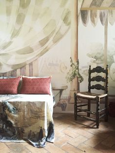 The tent room by Antonio Basoli Wallpaper Antonio Basoli: The Tent. Custom Made on order. Panels measure width x height as your walls Tent Room, Wallpaper Panels, Home Projects, Wall Decor, Wallpapers, Curtains, Contemporary, Interior Design, Bedroom