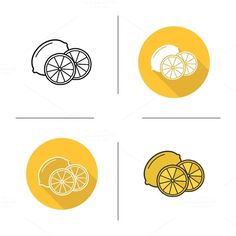Lemon icons. Vector by @Graphicsauthor