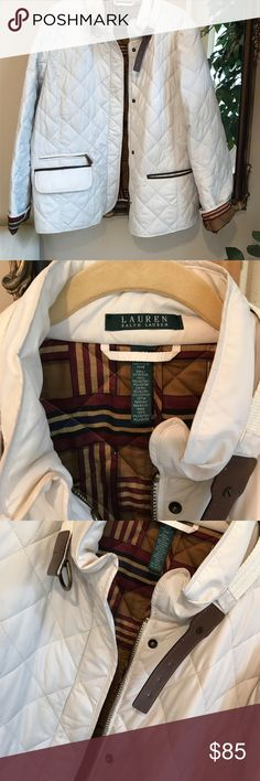 Ralph Lauren jacket Beautiful condition. Like new!  Leather accented.  Classic style!  A couple of small marks as seen in last pics Lauren Ralph Lauren Jackets & Coats