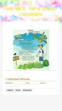 me free interactive worksheet - VACANTA, dupa Emilia caldararu by teacher Popescu.if Simona Worksheets, Teacher, Map, Writing, Professor, Teachers, Location Map, Literacy Centers, Maps