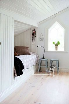 white + wood bed nook