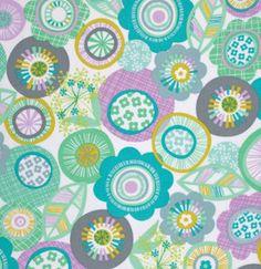 La Dee Da Pixie Flowers Aqua  by Erin McMorris Free Spirit Fabrics by the Yard. $7.50, via Etsy.