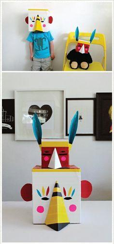 #DIY Colorful #paper #mask  www.kidsdinge.com https://www.facebook.com/pages/kidsdingecom-Origineel-speelgoed-hebbedingen-voor-hippe-kids/160122710686387?sk=wall