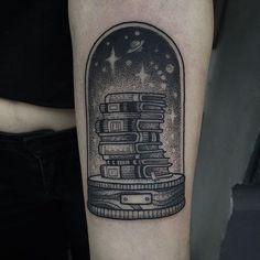 Reading books takes you away, Susanne König at Immer&Ewig Tattooing, Hamburg, Germany.