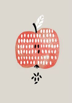 Such a clean and simple illustrated apple print | Apple, Nanna Prieler: