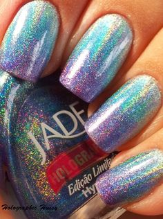 Jade Holographic Gradient Manicure. I am so doing this when the rest of my Jades come in from the awesome NinjaPolish.com