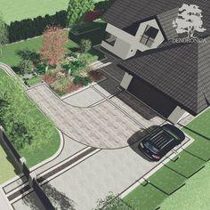 """Druga koncepcja dla ogrodu przy Domu w Kaczeńcach (Archon). Co prawda ta koncepcja jest bardziej formalna ale jej geometryczne prostolinijne kształty zostały """"zmiękczone"""" przez duże swobodnie zaplanowane grupy roślin. Podziały kolorystyczne na podjeździe w czterech odcieniach szarości. . #projektogrodu #podjazd #kostkabrukowa #brukbet #archon #domwkaczeńcach #trawyozdobne #landscapearchitecture #landscapedesigner #instagarden #landscapearchitect #projektantogrodów #pin #nowoczesnyogród… Sidewalk, Photo And Video, Instagram, Design, Side Walkway, Walkway, Walkways, Pavement"""