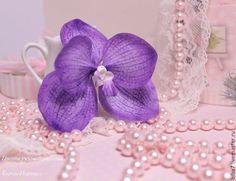 Купить Заколка зажим для волос Скидка.Керамическая флористика - тёмно-фиолетовый, орхидея, орхидея Ванда