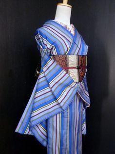 ●ガールズ●アンティーク *シマシマブルー♪正絹袷 お召し 裄62丈152 - アンティーク着物や現代着物なら雅星本店