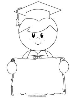 Kindergarten Graduate Girl | Coloring Page | To Color ...