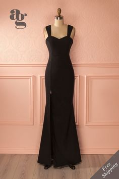 Tuva Black - Black gown with side slit  www.1861.ca