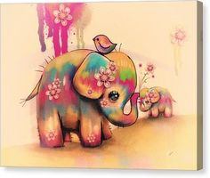 Vintage Tie Dye Elephants Canvas Print by Karin Taylor