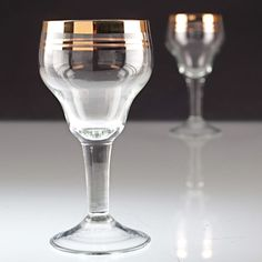 2 Vintage Likörgläser Goldrand Gläser wohl Art Deco W2C
