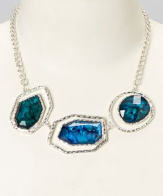 Look what I found on #zulily! Silver & Blue Abalone Lucite Necklace #zulilyfinds