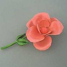 Large PEACH Vintage Enamel Flower Brooch 1960s 1970s Vintage Rose Brooch Dimensional by malibloom, $18.00