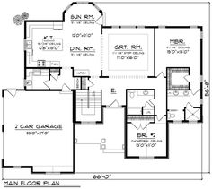 Ranch Style House Plan - 2 Beds 2 Baths 1943 Sq/Ft Plan #70-1166 Floor Plan - Main Floor Plan - Houseplans.com