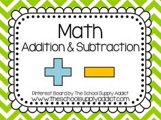 Addition & Subtraction Pin Board by The School Supply Addict