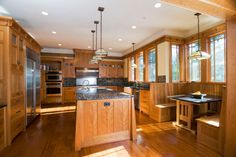 Craftsman Kitchen with island and built-in table