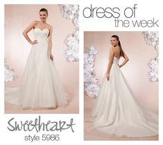 Dress Of The Week: 5986-  Our Dress Of The Week is this style 5986, a sleek, simple, and modern wedding dress. This classic ball gown features a sweetheart neckline with pleated organza that hugs at the natural waist. This simple and classic ball gown