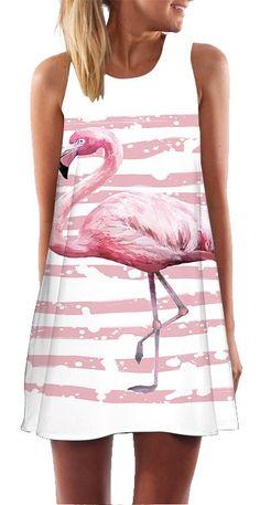 Women's Sleeveless Flamingo Print Summer Dress #flamingos #pinkflamingos #flamingofashion #flamingodesign #flamingoprint #fashion #womensfashion #summerfashion #summerdress #womensdress #dress
