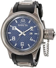 Invicta Mens 0059 Russian Diver Collection Dark Blue Dial Black Polyurethane Watch * Continue to the product at the image link.(This is an Amazon affiliate link and I receive a commission for the sales)