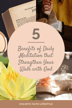 These 5 Benefits of Daily Meditation also Strengthen Your Walk with God - Holistic Faith Lifestyle Christian Meditation, Free Meditation, Spiritual Health, Spiritual Growth, Holistic Wellness, Health And Wellness, Bible Resources, Spiritual Disciplines, How To Improve Relationship