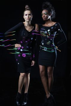 Twirkle Dress by CuteCircuit. Long sleeve dress with LED Technology that reacts to the body movements creating sparkles, glows and twinkles. Cool Technology, Wearable Technology, E Textiles, We Wear, How To Wear, Future Fashion, New Media, Pink Dress, My Style