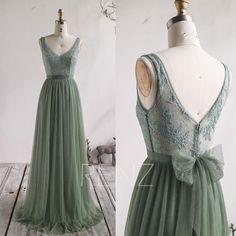 Wedding Dress Dusty Green Tulle Bridesmaid Dress Long Lace Formal Dress V Neck Prom Dress Illusion Lace Back A-line Wedding Tulle Bridesmaid Dress, V Neck Prom Dresses, Formal Dresses, Bridesmaids, Evening Dresses, Diane, Illusion Dress, The Dress, Dress Long