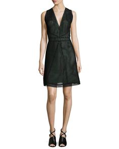 Sleeveless+Fit-and-Flare+Dress,+Onyx+by+Kaufman+Franco+at+Neiman+Marcus+Last+Call.