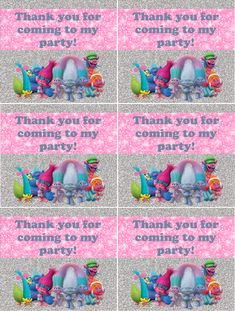 trolls birthday party thank you notes free printable  i made this for my daughter's party. It is free for you to use. Just save the image then print out.