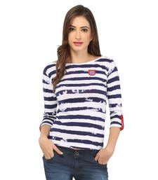 Buy White cotton spandex jersey tops top online