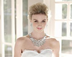 Just gorgeous!  Pearl and Crystal Floral Wedding Jewelry Set - Affordable Elegance Bridal -