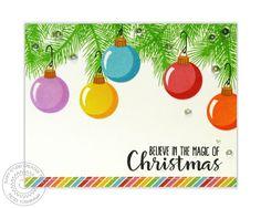 Sunny Studio Stamps: Holiday Style Glass Ball Ornament Card by Mendi Yoshikawa