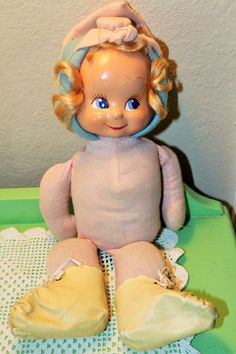 Vintage Doll with Plaster Face and plush body kewpie Style
