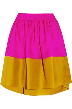 gold and pink color blocked skirt
