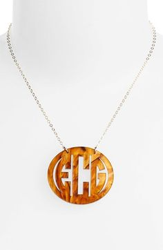 Women's Moon and Lola Large Oval Personalized Monogram Pendant Necklace - Tigers Eye/ Gold (Nordstrom Exclusive)