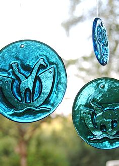 Michael Bang for Holmegaard. Set of three Turquoise/ blue