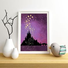Printed Castle lanterns Poster with night sky background This Bright night scene Tangled poster is a Tangled Lanterns Scene, Floating Lights, Sky Lanterns, Tangled Painting, Castle Painting, Tangled Drawing, Painting Canvas, Disney Canvas Art, Watercolor Art