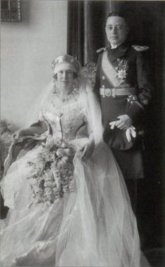 The wedding of Princess Maria Kyrillovna of Russia, daughter of Grand duke Kyrill Vladimirovich and spouse, Grand duchess Victoria Fyodorovna of Russia, with prince Friedrich Karl of Leiningen. February 24, 1925. Maria, as her sister Kira, used the same traditional russian wedding gown that their mother used in her (second) wedding with Kyrill,