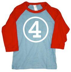 Fourth Birthday American Apparel Red and Blue 3/4 Sleeve Raglan Tshirt
