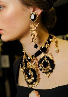 Dolche y Gabbana 2016 jewellery jewelry earrings set, oniks set, baroque jewellery, angel earrings