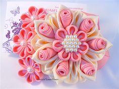 Handmade Kanzashi large flower hair clip. This gorgeous handmade KANZASHI…