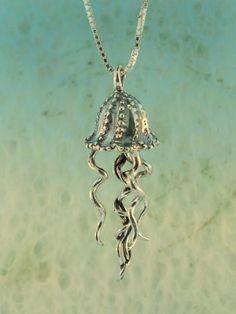 Silver Jellyfish Charm Pendant. $110.00, via Etsy.