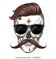 Hipster skull with mustache and glasses.White background